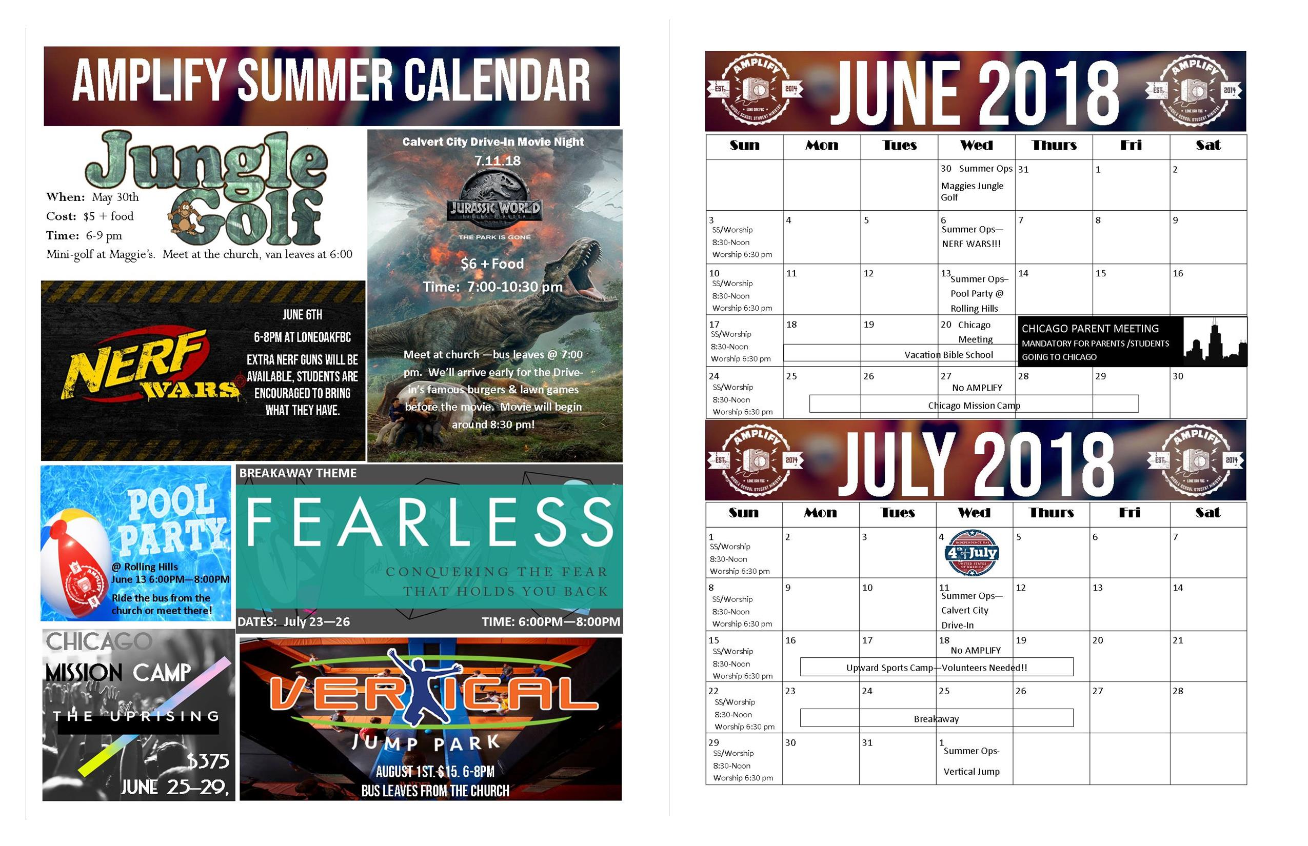 Summer Calendars Lone Oak Students